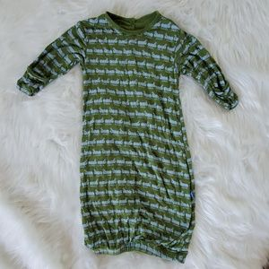 Kickee Pants ants dressing gown 3-6 months green